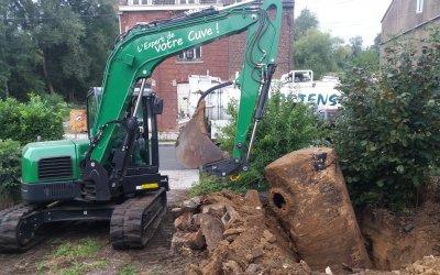 Excavation d'une citerne à mazout de 3000 litres à Clabecq.