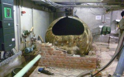 Découpe et évacuation d'une cuve à mazout de 5.125 litres à Soignies.